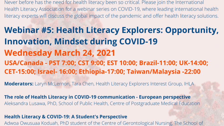 IHLA Webinar #5: Health Literacy Explorers: Opportunity, Innovation, Mindset during COVID-19