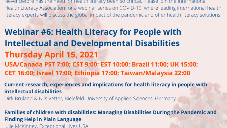 IHLA Webinar #6: Health Literacy for People with Intellectual and Developmental Disabilities